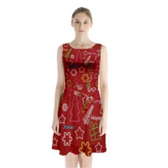 Red Xmas Pattern Sleeveless Chiffon Waist Tie Dress