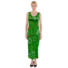Green Xmas pattern Fitted Maxi Dress