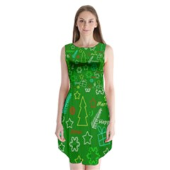 Green Xmas Pattern Sleeveless Chiffon Dress