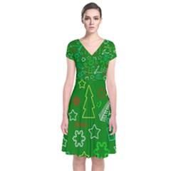 Green Xmas pattern Short Sleeve Front Wrap Dress