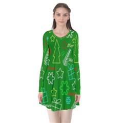 Green Xmas Pattern Flare Dress