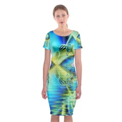 Crystal Lime Turquoise Heart Of Love, Abstract Classic Short Sleeve Midi Dress