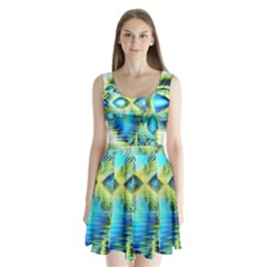 Crystal Lime Turquoise Heart Of Love, Abstract Split Back Mini Dress