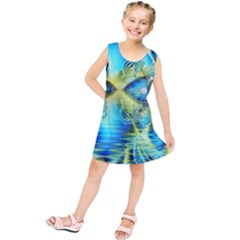Crystal Lime Turquoise Heart Of Love, Abstract Kids  Tunic Dress