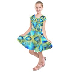 Crystal Lime Turquoise Heart Of Love, Abstract Kids  Short Sleeve Dress