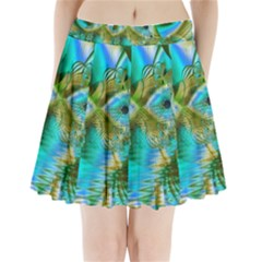 Crystal Gold Peacock, Abstract Mystical Lake Pleated Mini Skirt