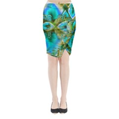 Crystal Gold Peacock, Abstract Mystical Lake Midi Wrap Pencil Skirt