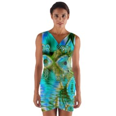Crystal Gold Peacock, Abstract Mystical Lake Wrap Front Bodycon Dress