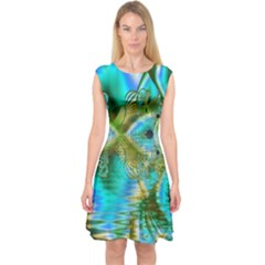 Crystal Gold Peacock, Abstract Mystical Lake Capsleeve Midi Dress