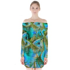 Crystal Gold Peacock, Abstract Mystical Lake Long Sleeve Off Shoulder Dress
