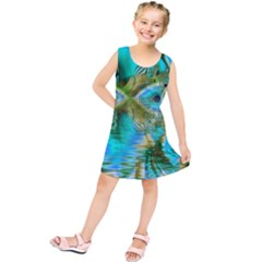 Crystal Gold Peacock, Abstract Mystical Lake Kids  Tunic Dress