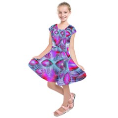 Crystal Northern Lights Palace, Abstract Ice  Kids  Short Sleeve Dress