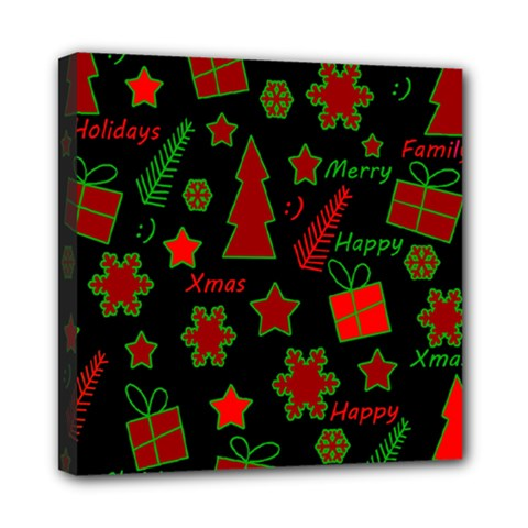 Red and green Xmas pattern Mini Canvas 8  x 8
