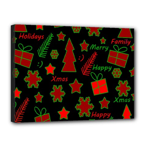 Red and green Xmas pattern Canvas 16  x 12
