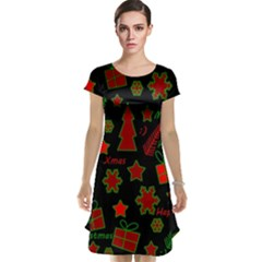 Red and green Xmas pattern Cap Sleeve Nightdress