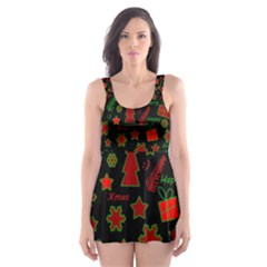 Red and green Xmas pattern Skater Dress Swimsuit