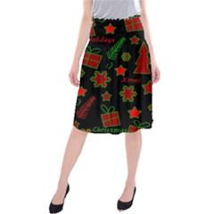 Red and green Xmas pattern Midi Beach Skirt