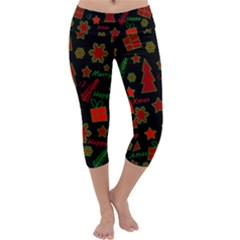 Red and green Xmas pattern Capri Yoga Leggings