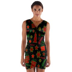 Red and green Xmas pattern Wrap Front Bodycon Dress