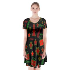 Red and green Xmas pattern Short Sleeve V-neck Flare Dress