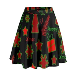 Red and green Xmas pattern High Waist Skirt