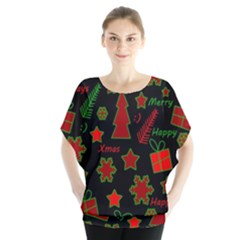 Red and green Xmas pattern Blouse