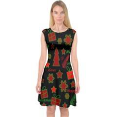 Red and green Xmas pattern Capsleeve Midi Dress