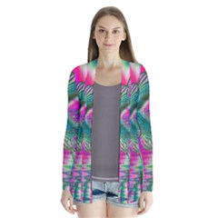 Crystal Flower Garden, Abstract Teal Violet Cardigans