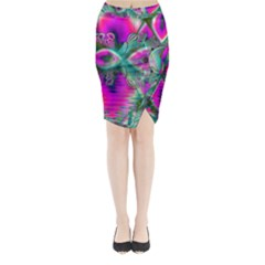 Crystal Flower Garden, Abstract Teal Violet Midi Wrap Pencil Skirt