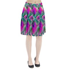 Crystal Flower Garden, Abstract Teal Violet Pleated Skirt