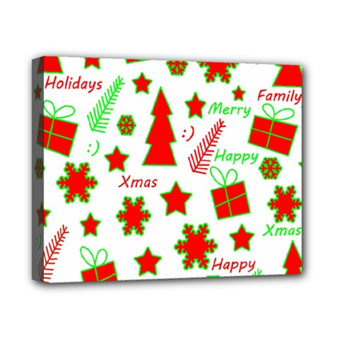 Red and green Christmas pattern Canvas 10  x 8