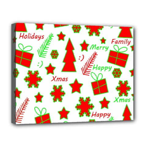 Red and green Christmas pattern Canvas 14  x 11