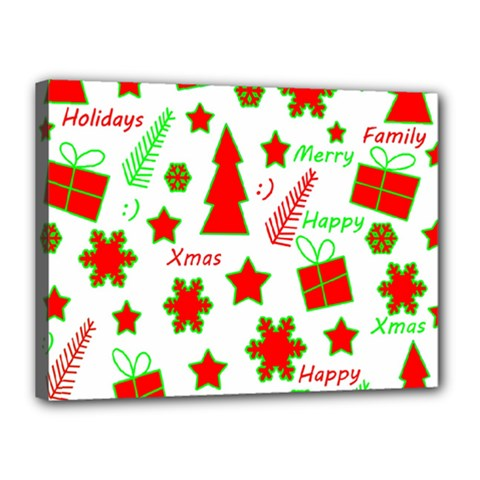 Red and green Christmas pattern Canvas 16  x 12