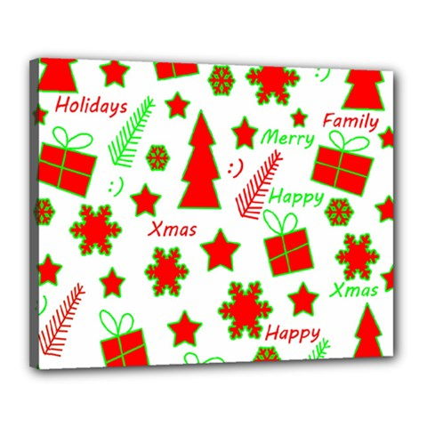 Red and green Christmas pattern Canvas 20  x 16