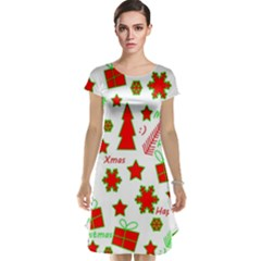 Red and green Christmas pattern Cap Sleeve Nightdress