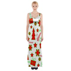 Red and green Christmas pattern Maxi Thigh Split Dress