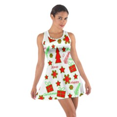 Red and green Christmas pattern Cotton Racerback Dress