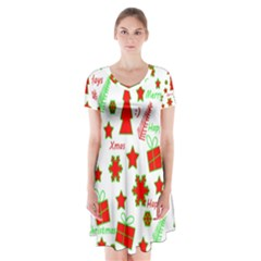 Red and green Christmas pattern Short Sleeve V-neck Flare Dress