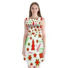 Red And Green Christmas Pattern Sleeveless Chiffon Dress