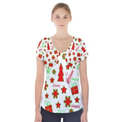 Red and green Christmas pattern Short Sleeve Front Detail Top