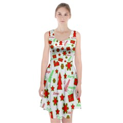 Red And Green Christmas Pattern Racerback Midi Dress
