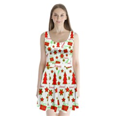 Red and green Christmas pattern Split Back Mini Dress