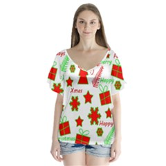 Red And Green Christmas Pattern Flutter Sleeve Top