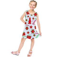 Red and green Christmas pattern Kids  Tunic Dress