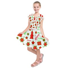 Red and green Christmas pattern Kids  Short Sleeve Dress