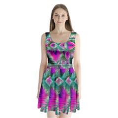 Crystal Flower Garden, Abstract Teal Violet Split Back Mini Dress