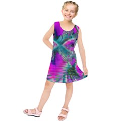 Crystal Flower Garden, Abstract Teal Violet Kids  Tunic Dress