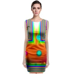 Crossroads Of Awakening, Abstract Rainbow Doorway  Classic Sleeveless Midi Dress