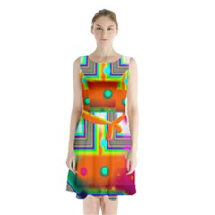 Crossroads Of Awakening, Abstract Rainbow Doorway  Sleeveless Chiffon Waist Tie Dress