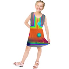 Crossroads Of Awakening, Abstract Rainbow Doorway  Kids  Tunic Dress